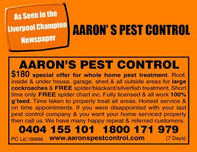 Liverpool Champion Newspaper Aarons Pest Control Moorebank Village NSW Advertisement