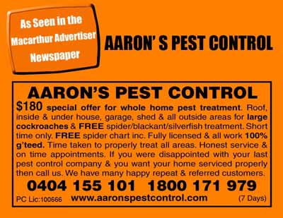 Macarthur Champion Newspaper Aarons Pest Control Woodbine NSW Advertisement