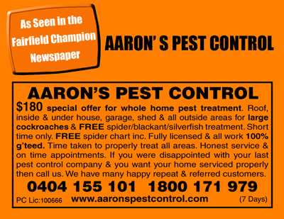Fairfield Champion Newspaper Aarons Pest Control Horsley Park NSW Advertisement